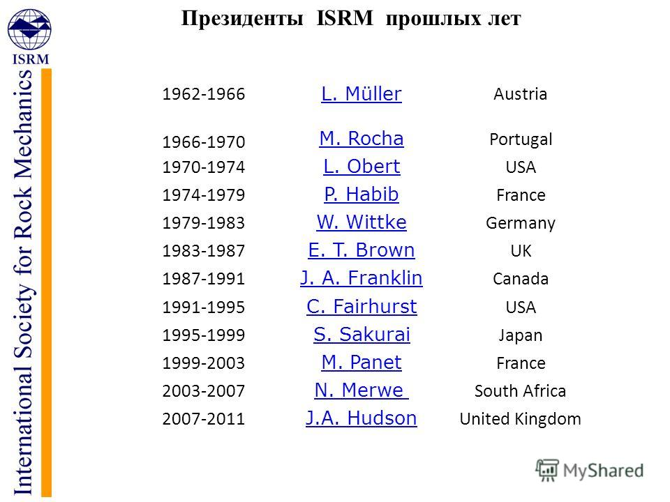 Президенты ISRM прошлых лет 1962-1966 L. Müller Austria 1966-1970 M. Rocha Portugal 1970-1974 L. Obert USA 1974-1979 P. Habib France 1979-1983 W. Wittke Germany 1983-1987 E. T. Brown UK 1987-1991 J. A. Franklin Canada 1991-1995 C. Fairhurst USA 1995-