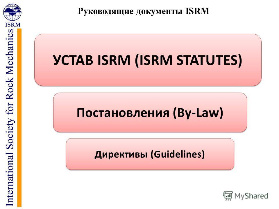 Руководящие документы ISRM УСТАВ ISRM (ISRM STATUTES) Постановления (By-Law) Директивы (Guidelines)