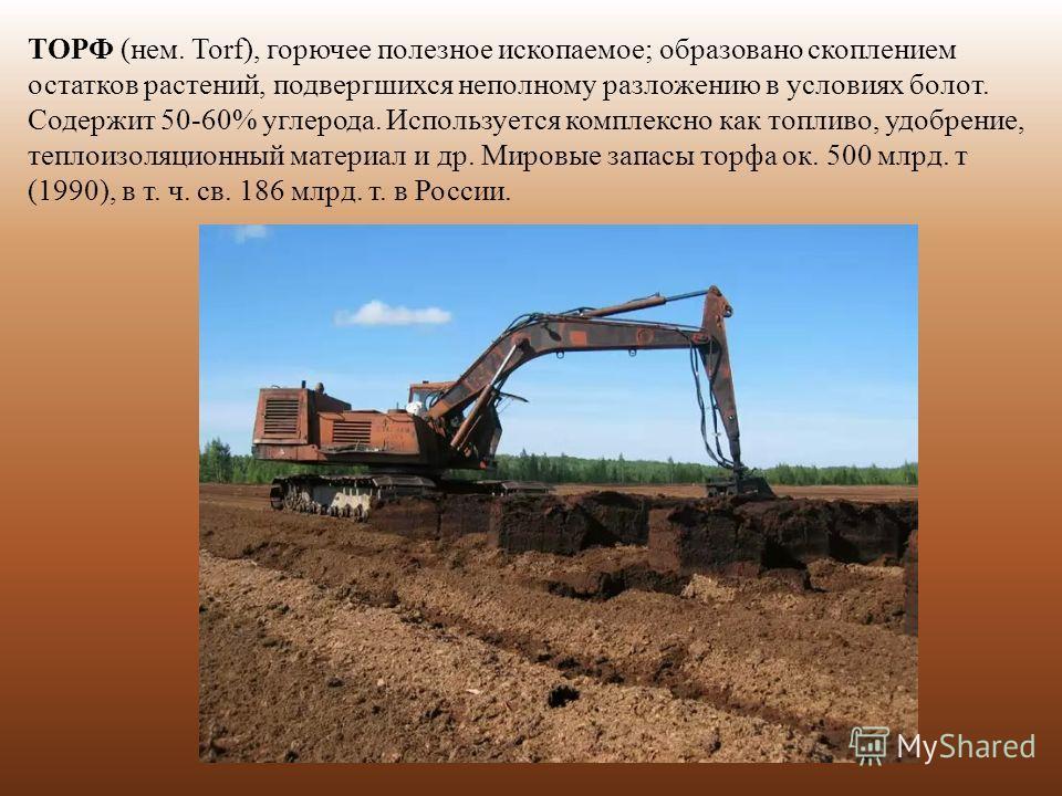 ТОРФ (нем. Torf), горючее полезное ископаемое; образовано скоплением остатков растений, подвергшихся неполному разложению в условиях болот. Содержит 50-60% углерода. Используется комплексно как топливо, удобрение, теплоизоляционный материал и др. Мир