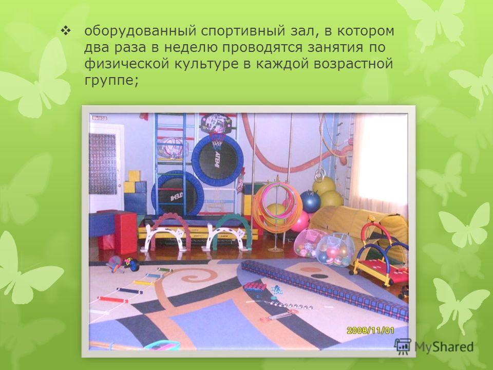 оборудованный спортивный зал, в котором два раза в неделю проводятся занятия по физической культуре в каждой возрастной группе;
