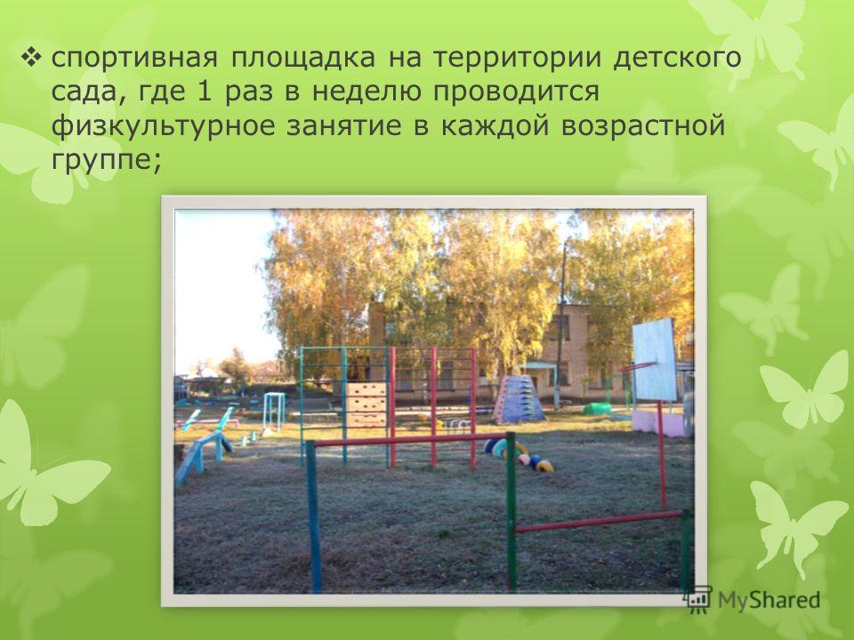 спортивная площадка на территории детского сада, где 1 раз в неделю проводится физкультурное занятие в каждой возрастной группе;
