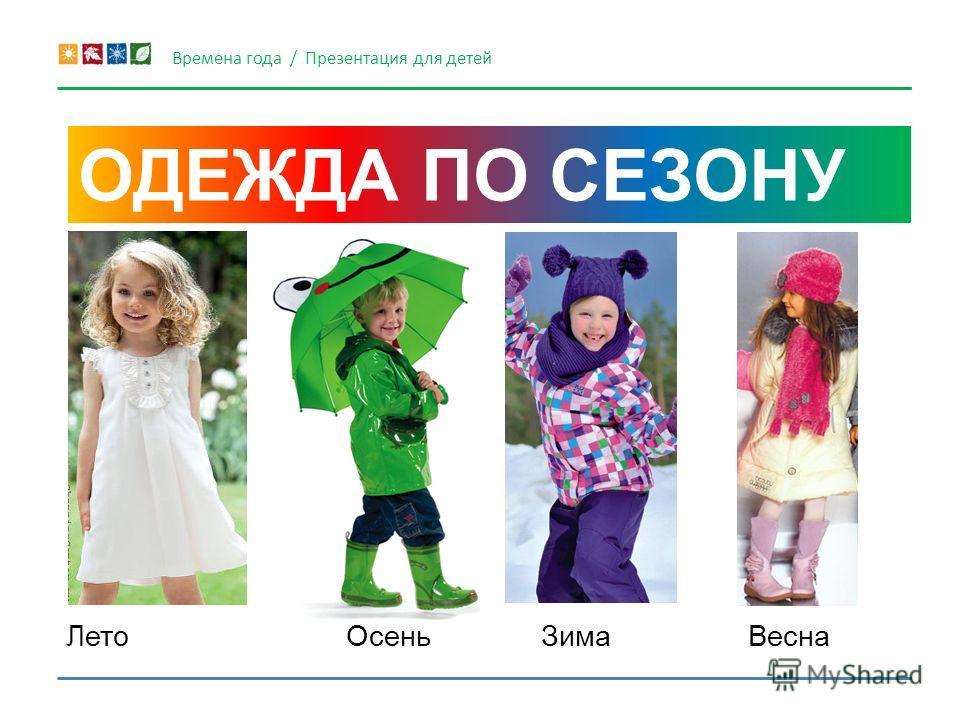ОДЕЖДА ПО СЕЗОНУ Времена года / Презентация для детей Лето ЗимаОсень Весна