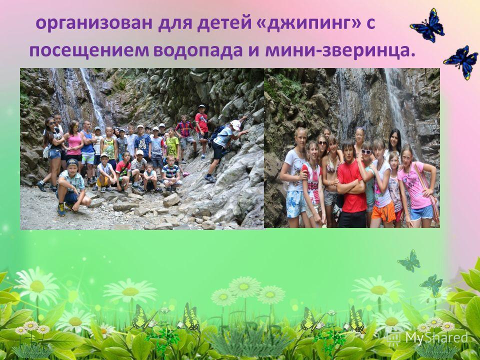 организован для детей «джипинг» с посещением водопада и мини-зверинца.