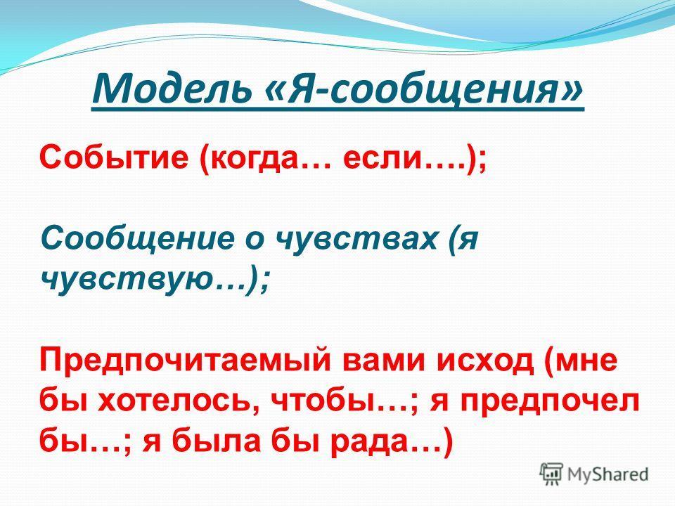Модель «Я-сообщения» Событие (когда… если….); Сообщение о чувствах (я чувствую…); Предпочитаемый вами исход (мне бы хотелось, чтобы…; я предпочел бы…; я была бы рада…)