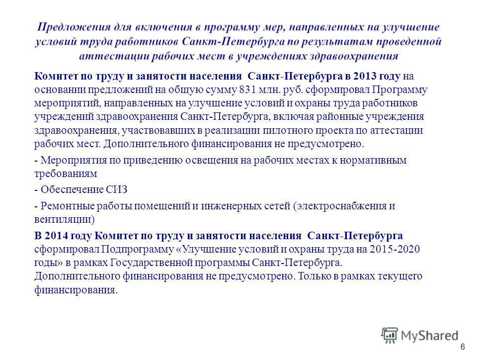 Комитет по труду и занятости населения Санкт-Петербурга в 2013 году на основании предложений на общую сумму 831 млн. руб. сформировал Программу мероприятий, направленных на улучшение условий и охраны труда работников учреждений здравоохранения Санкт-