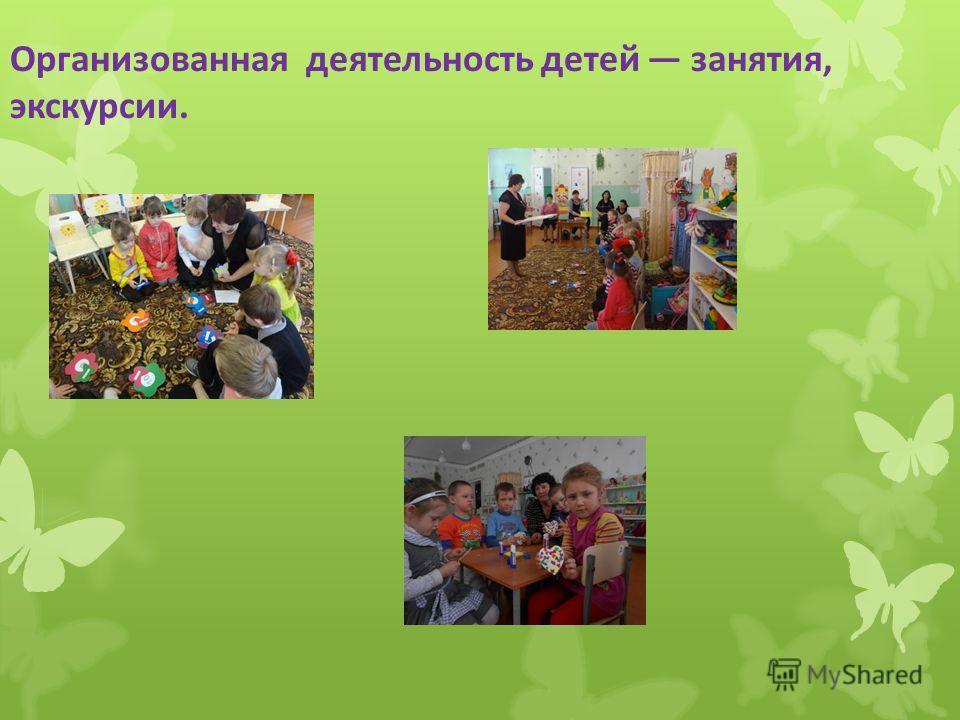 Организованная деятельность детей занятия, экскурсии.