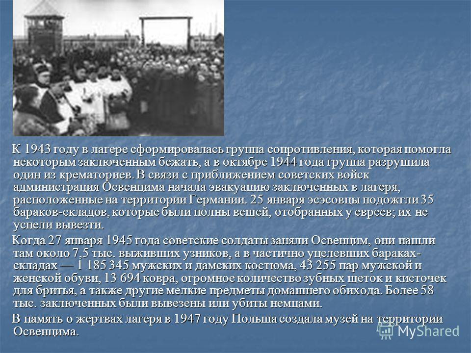 К 1943 году в лагере сформировалась группа сопротивления, которая помогла некоторым заключенным бежать, а в октябре 1944 года группа разрушила один из крематориев. В связи с приближением советских войск администрация Освенцима начала эвакуацию заключ