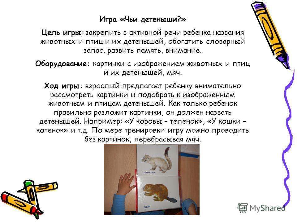 Игра «Чьи детеныши?» Цель игры: закрепить в активной речи ребенка названия животных и птиц и их детенышей, обогатить словарный запас, развить память, внимание. Оборудование: картинки с изображением животных и птиц и их детенышей, мяч. Ход игры: взрос
