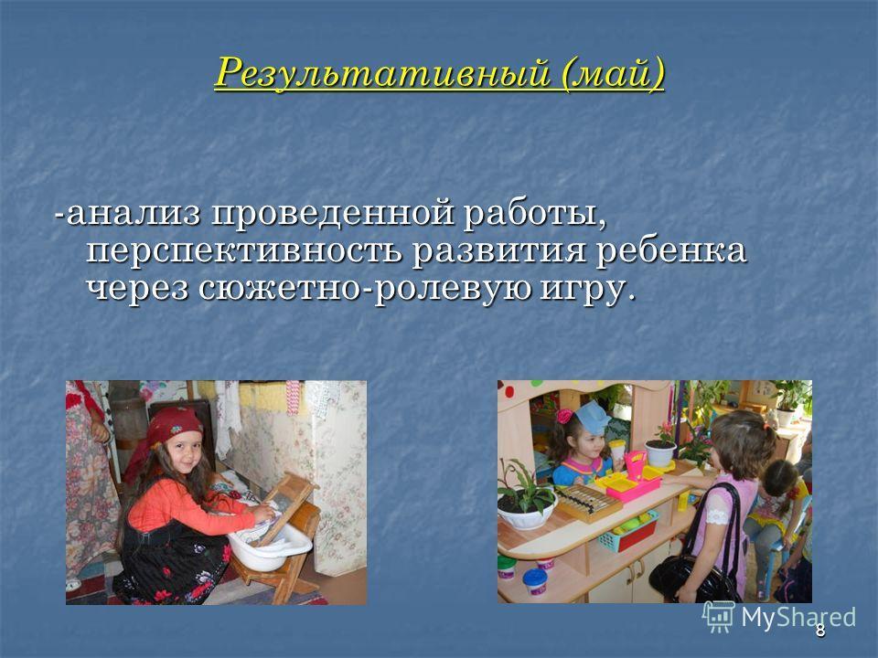 Содержательный (сентябрь - апрель) -моделирование игровой ситуации и привлечение детей в игровую ситуацию. -игровые центры:«Здоровье»,«Магазин», «Парикмахерская»,«Семья»,«Почта»; -использование разнообразных форм работы с родителями; -распределение р