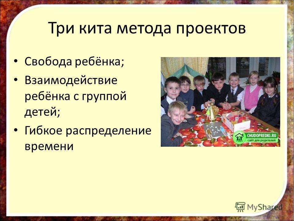 Три кита метода проектов Свобода ребёнка; Взаимодействие ребёнка с группой детей; Гибкое распределение времени