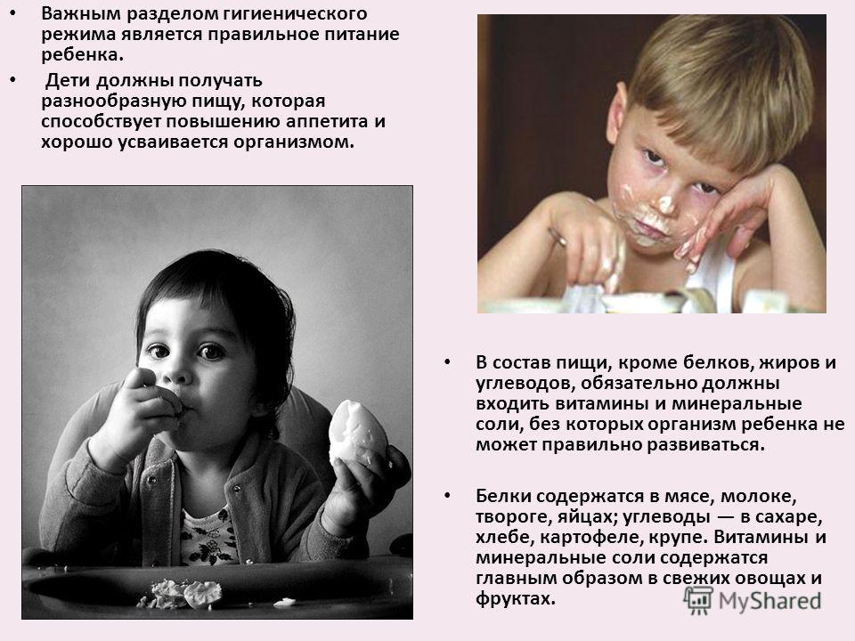 Важным разделом гигиенического режима является правильное питание ребенка. Дети должны получать разнообразную пищу, которая способствует повышению аппетита и хорошо усваивается организмом. В состав пищи, кроме белков, жиров и углеводов, обязательно д