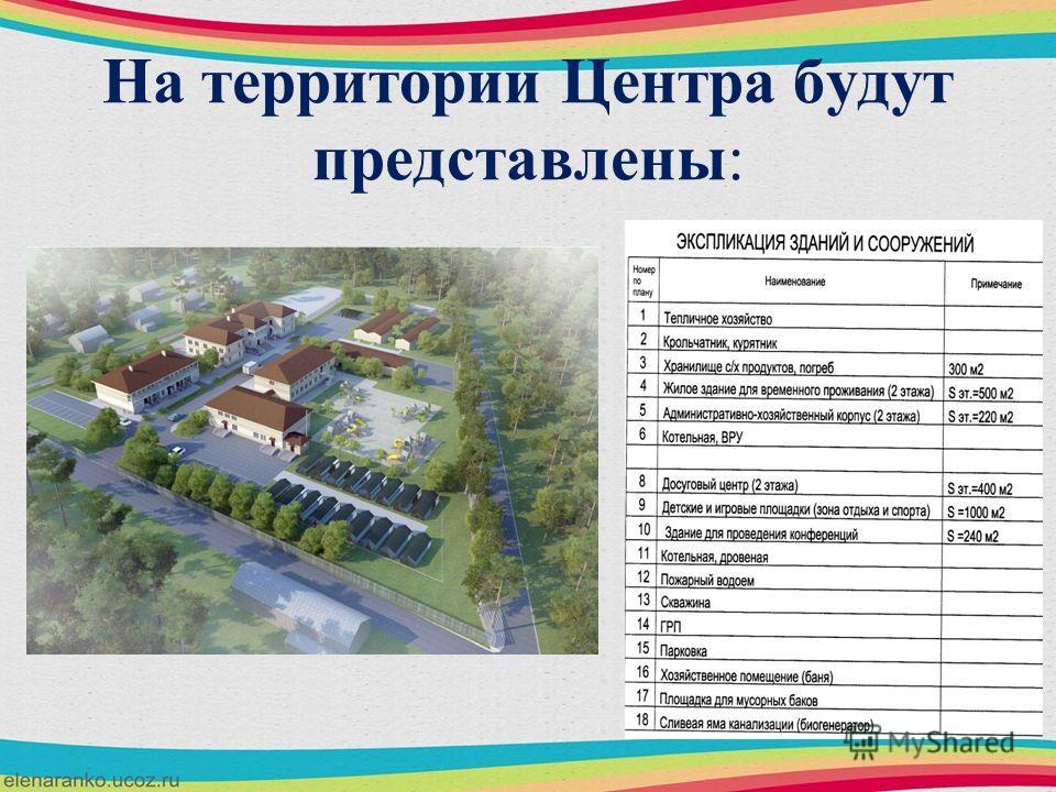 На территории Центра будут представлены: