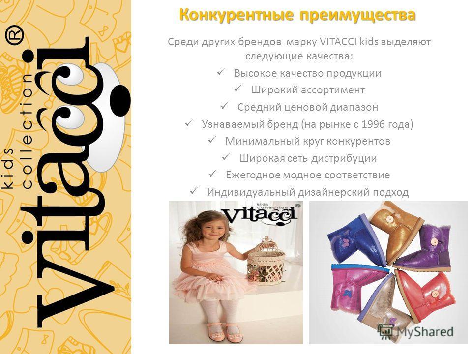 Конкурентные преимущества Среди других брендов марку VITACCI kids выделяют следующие качества: Высокое качество продукции Широкий ассортимент Средний ценовой диапазон Узнаваемый бренд (на рынке с 1996 года) Минимальный круг конкурентов Широкая сеть д