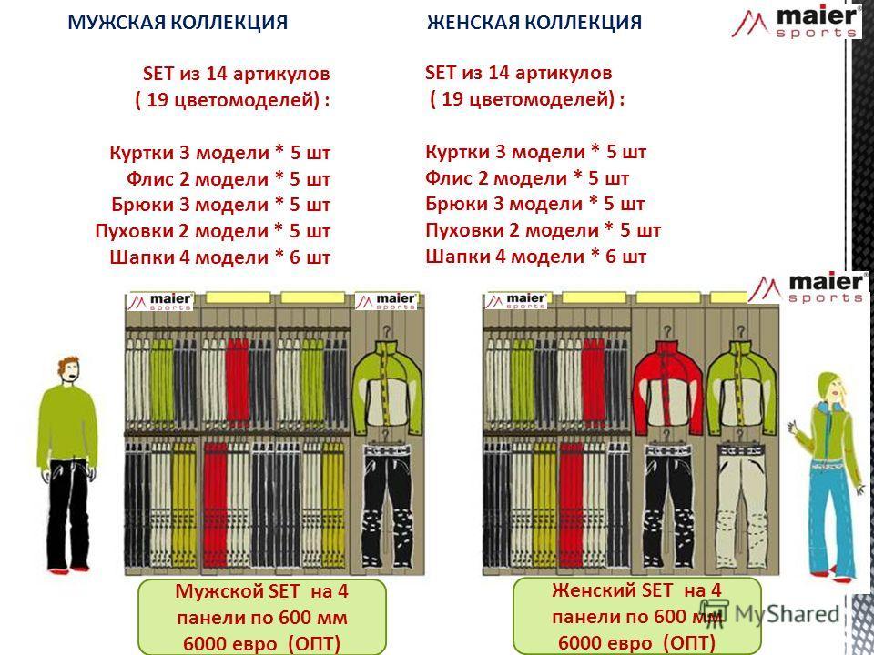 SET из 14 артикулов ( 19 цветомоделей) : Куртки 3 модели * 5 шт Флис 2 модели * 5 шт Брюки 3 модели * 5 шт Пуховки 2 модели * 5 шт Шапки 4 модели * 6 шт Мужской SET на 4 панели по 600 мм 6000 евро (ОПТ) SET из 14 артикулов ( 19 цветомоделей) : Куртки