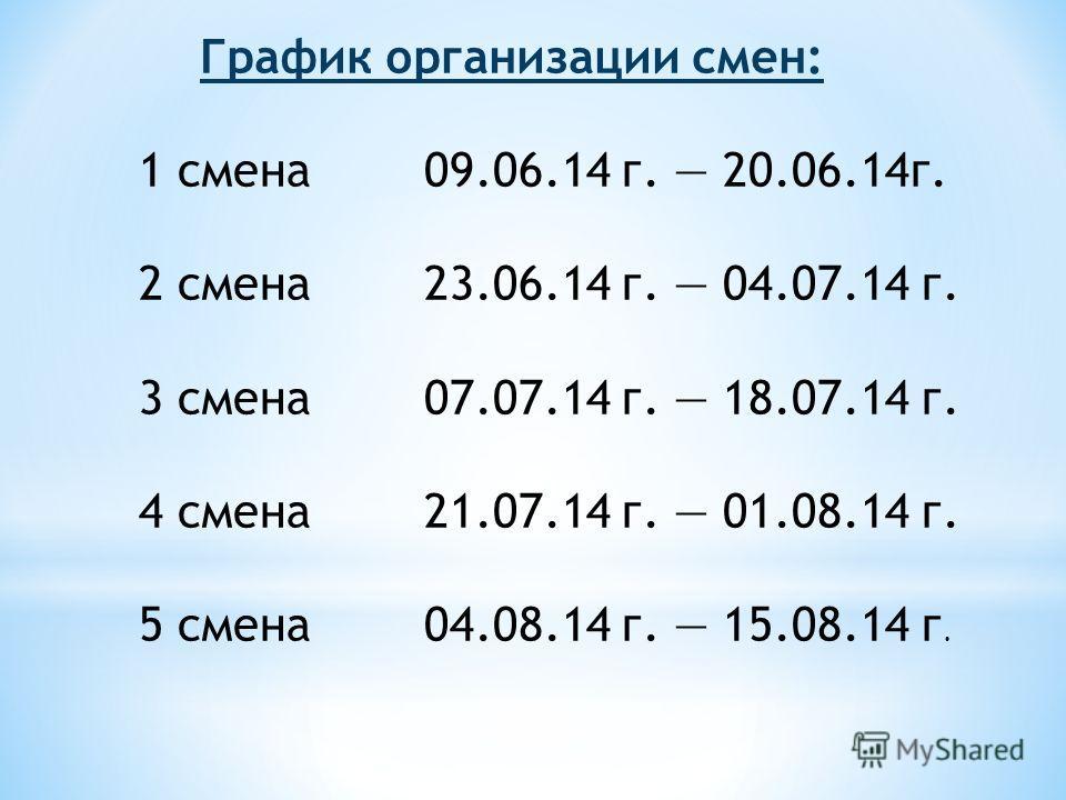 1 смена 09.06.14 г. 20.06.14 г. 2 смена 23.06.14 г. 04.07.14 г. 3 смена 07.07.14 г. 18.07.14 г. 4 смена 21.07.14 г. 01.08.14 г. 5 смена 04.08.14 г. 15.08.14 г. График организации смен: