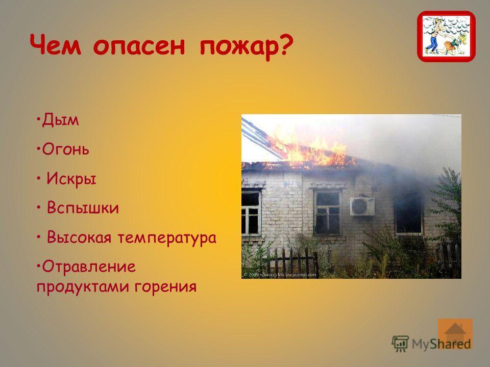 Чем опасен пожар? Дым Огонь Искры Вспышки Высокая температура Отравление продуктами горения