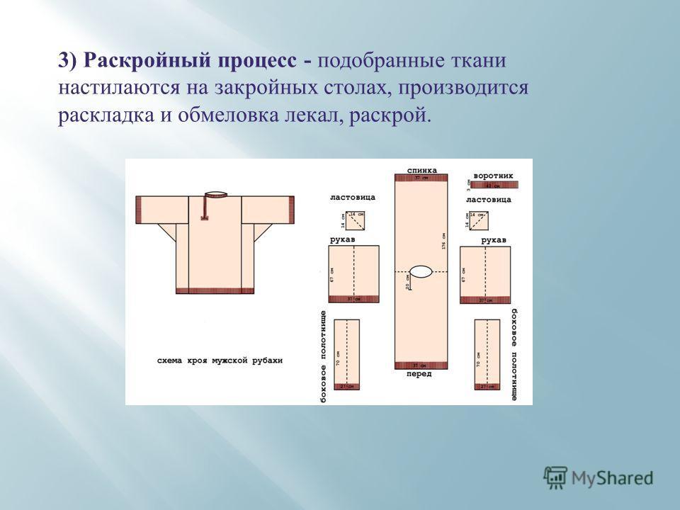 3) Раскройный процесс - подобранные ткани настилаются на закройных столах, производится раскладка и обмеловка лекал, раскрой.