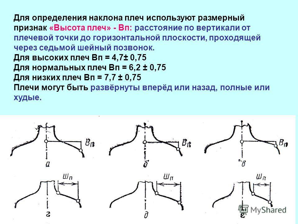 Для определения наклона плеч используют размерный признак «Высота плеч» - Вп: расстояние по вертикали от плечевой точки до горизонтальной плоскости, проходящей через седьмой шейный позвонок. Для высоких плеч Вп = 4,7± 0,75 Для нормальных плеч Вп = 6,