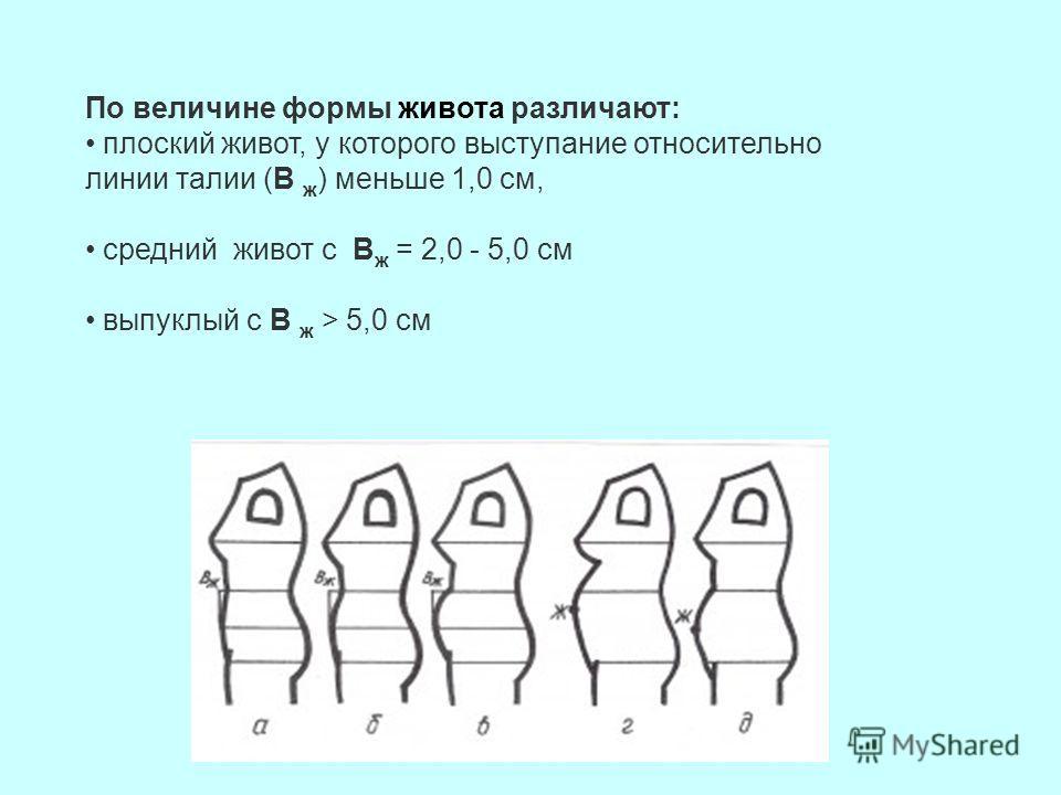 По величине формы живота различают: плоский живот, у которого выступание относительно линии талии (В ж ) меньше 1,0 см, средний живот с В ж = 2,0 - 5,0 см выпуклый с В ж > 5,0 см