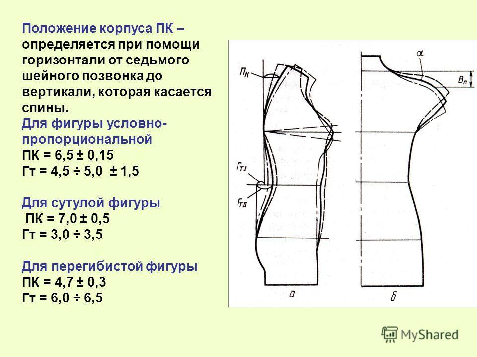 Положение корпуса ПК – определяется при помощи горизонтали от седьмого шейного позвонка до вертикали, которая касается спины. Для фигуры условно- пропорциональной ПК = 6,5 ± 0,15 Гт = 4,5 ÷ 5,0 ± 1,5 Для сутулой фигуры ПК = 7,0 ± 0,5 Гт = 3,0 ÷ 3,5 Д