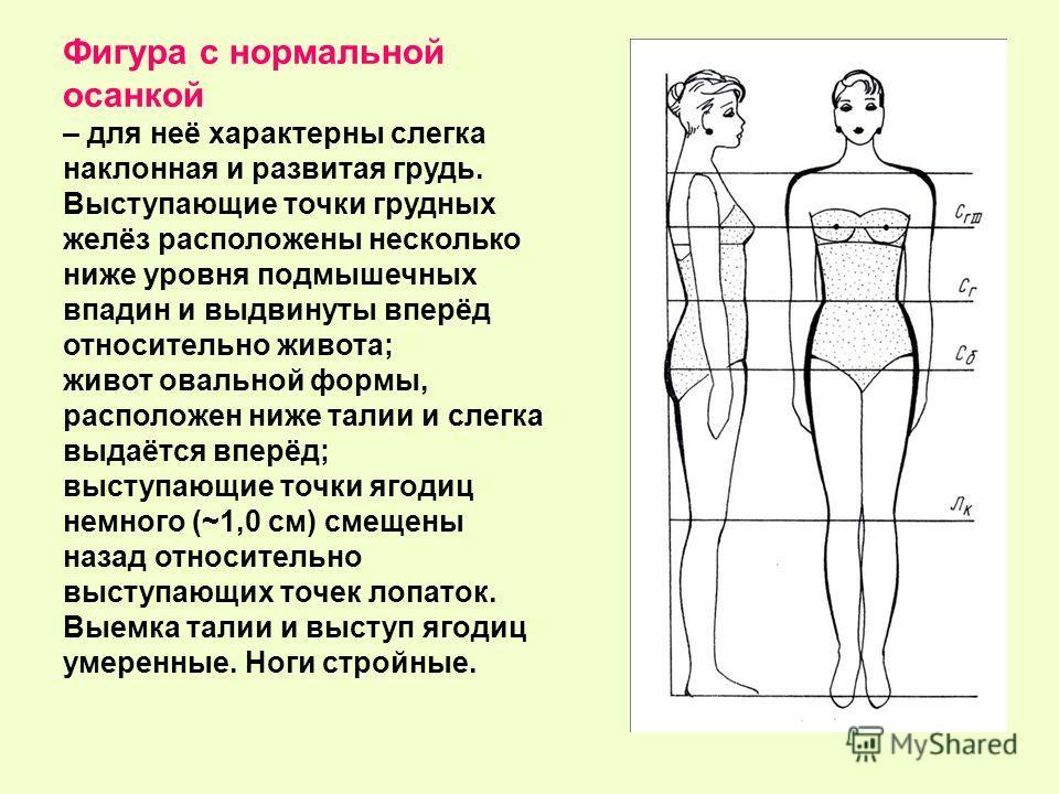 Фигура с нормальной осанкой – для неё характерны слегка наклонная и развитая грудь. Выступающие точки грудных желёз расположены несколько ниже уровня подмышечных впадин и выдвинуты вперёд относительно живота; живот овальной формы, расположен ниже тал