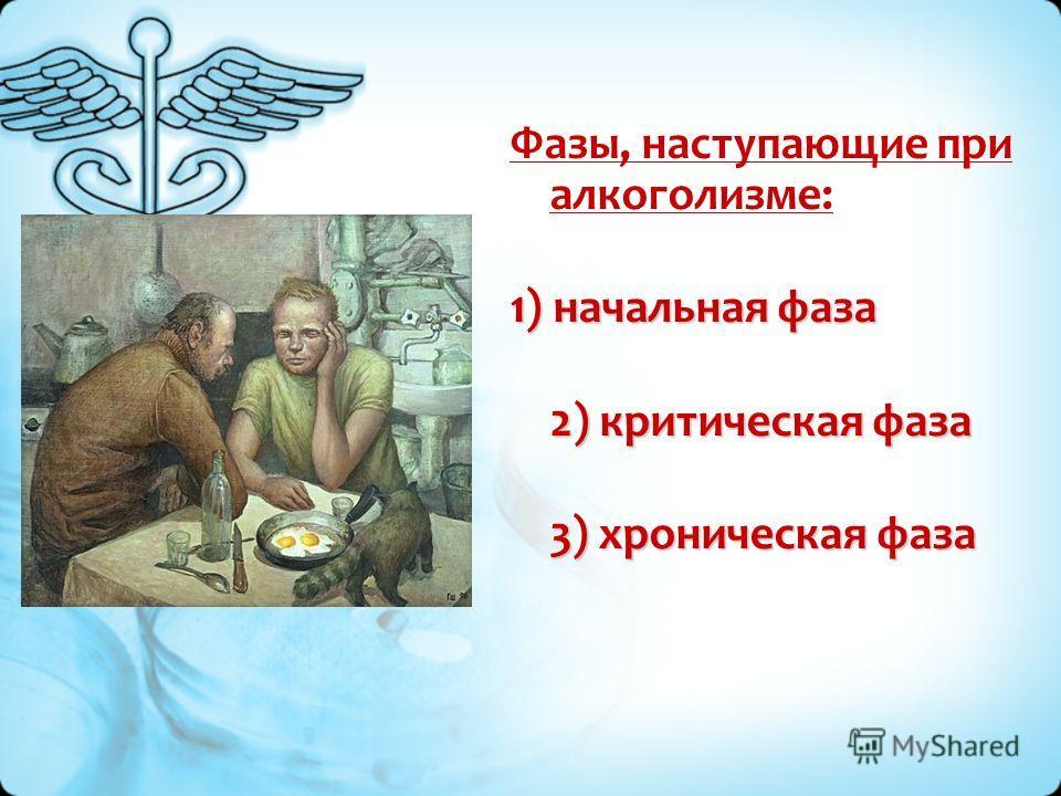Фазы, наступающие при алкоголизме: 1) начальная фаза 2) критическая фаза 3) хроническая фаза