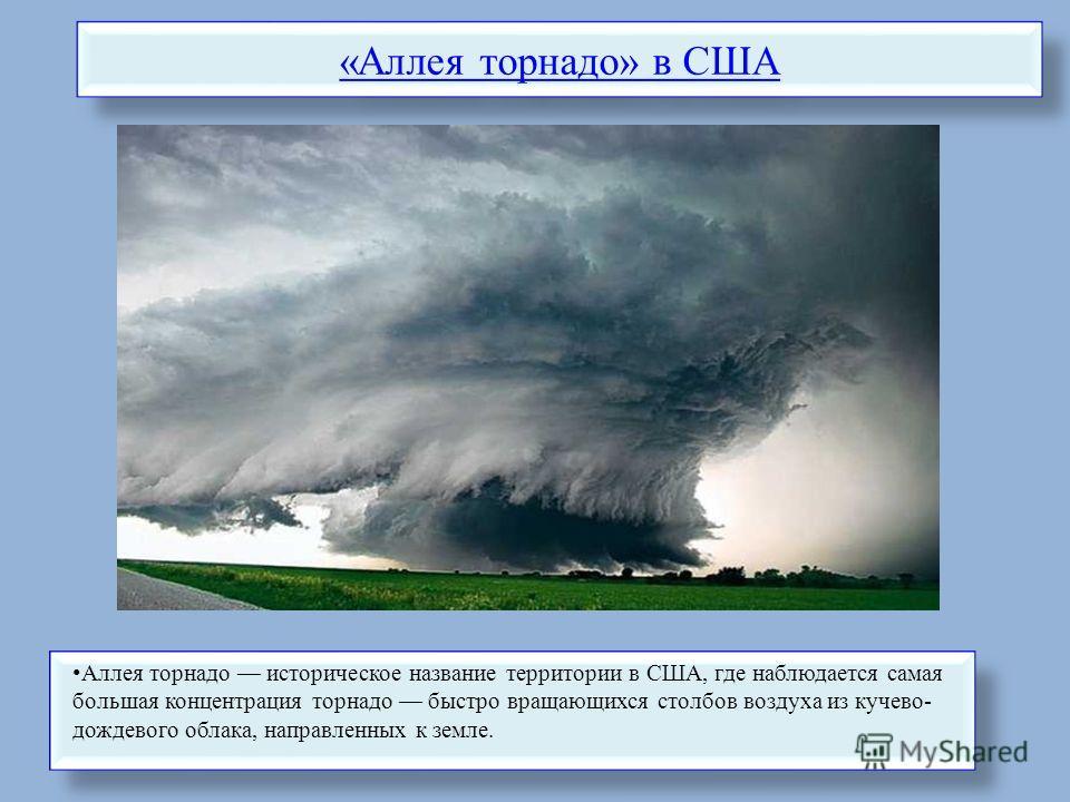 «Аллея торнадо» в США Аллея торнадо историческое название территории в США, где наблюдается самая большая концентрация торнадо быстро вращающихся столбов воздуха из кучево- дождевого облака, направленных к земле.