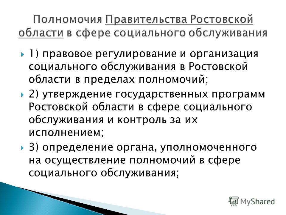 1) правовое регулирование и организация социального обслуживания в Ростовской области в пределах полномочий; 2) утверждение государственных программ Ростовской области в сфере социального обслуживания и контроль за их исполнением; 3) определение орга