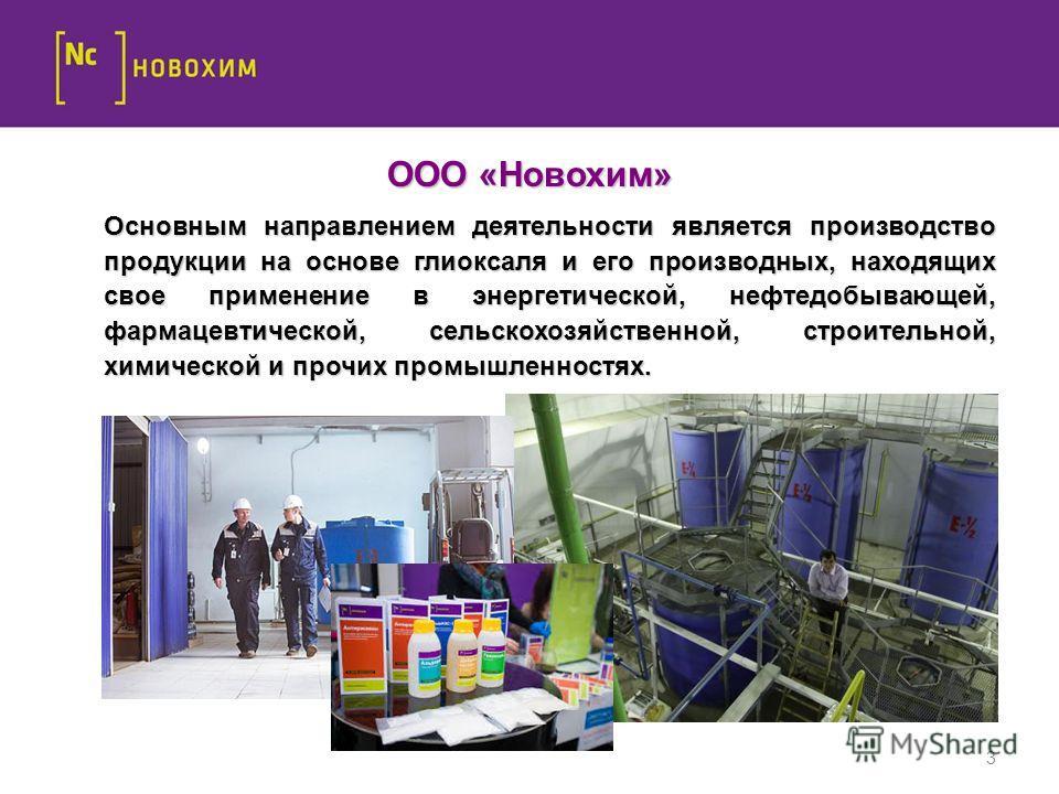 3 ООО «Новохим» Основным направлением деятельности является производство продукции на основе глиоксаля и его производных, находящих свое применение в энергетической, нефтедобывающей, фармацевтической, сельскохозяйственной, строительной, химической и