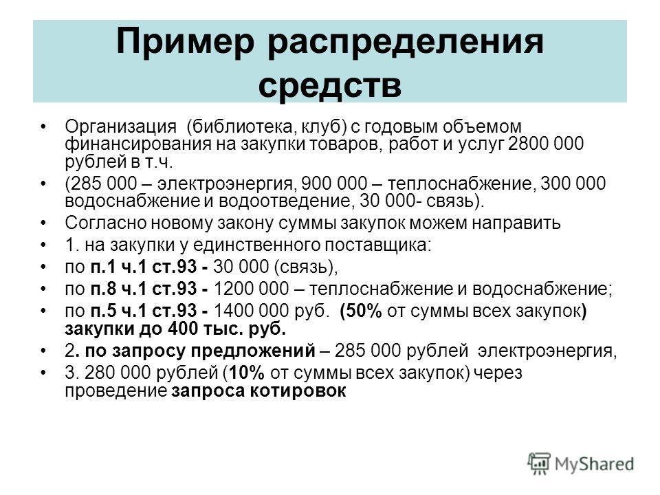 Пример распределения средств Организация (библиотека, клуб) с годовым объемом финансирования на закупки товаров, работ и услуг 2800 000 рублей в т.ч. (285 000 – электроэнергия, 900 000 – теплоснабжение, 300 000 водоснабжение и водоотведение, 30 000-
