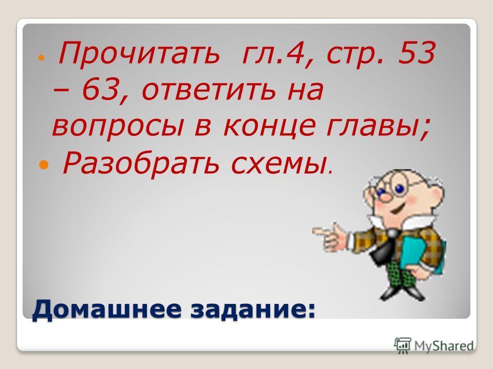 Домашнее задание: Прочитать гл.4, стр. 53 – 63, ответить на вопросы в конце главы; Разобрать схемы.