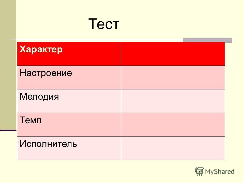Тест Характер Настроение Мелодия Темп Исполнитель