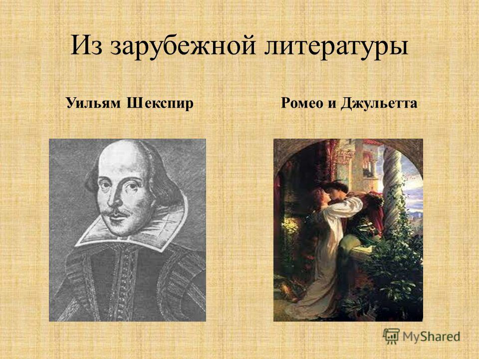 Из зарубежной литературы Уильям Шекспир Ромео и Джульетта