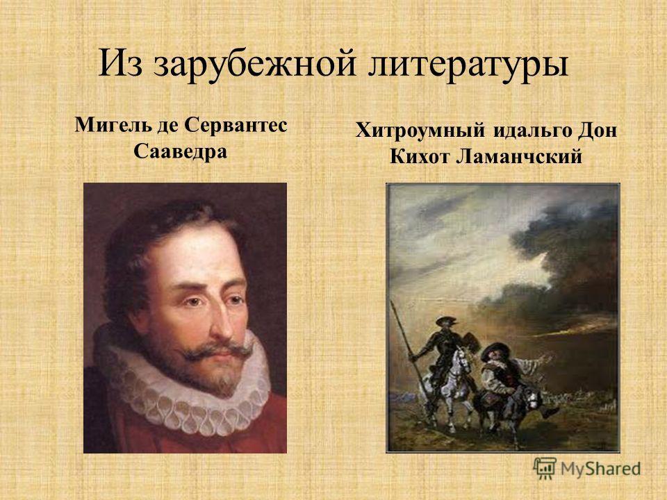 Из зарубежной литературы Мигель де Сервантес Сааведра Хитроумный идальго Дон Кихот Ламанчский