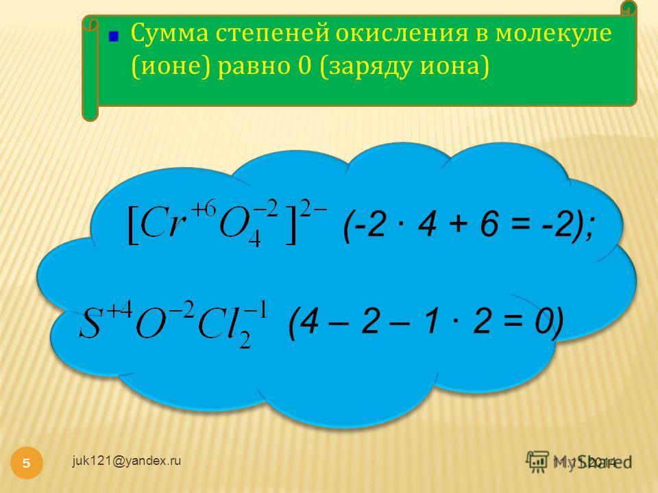 11.11.2014 juk121@yandex.ru 5 Сумма степеней окисления в молекуле (ионе) равно 0 (заряду иона) (-2 4 + 6 = -2); (4 – 2 – 1 2 = 0)