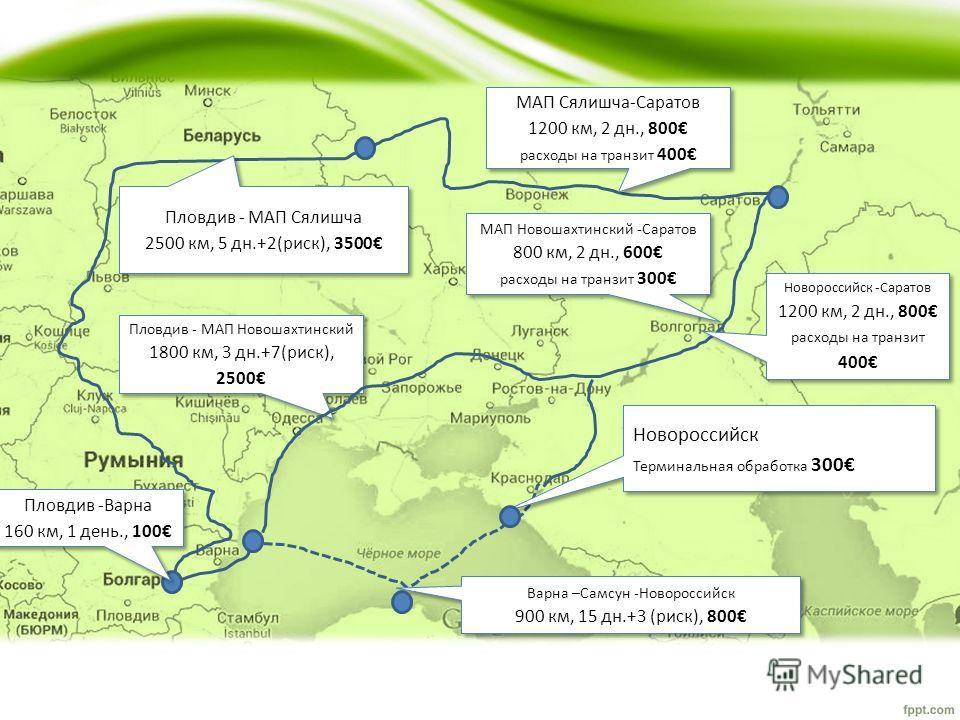 Пловдив - МАП Новошахтинский 1800 км, 3 дн.+7(риск), 2500 Пловдив - МАП Сялишча 2500 км, 5 дн.+2(риск), 3500 МАП Сялишча-Саратов 1200 км, 2 дн., 800 расходы на транзит 400 МАП Новошахтинский -Саратов 800 км, 2 дн., 600 расходы на транзит 300 Варна –С