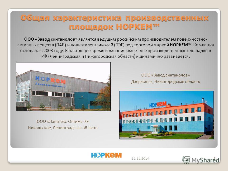 ООО «Завод синтанолов» является ведущим российским производителем поверхностно- активных веществ (ПАВ) и полиэтиленгликолей (ПЭГ) под торговой маркой НОРКЕМ. Компания основана в 2003 году. В настоящее время компания имеет две производственные площадк