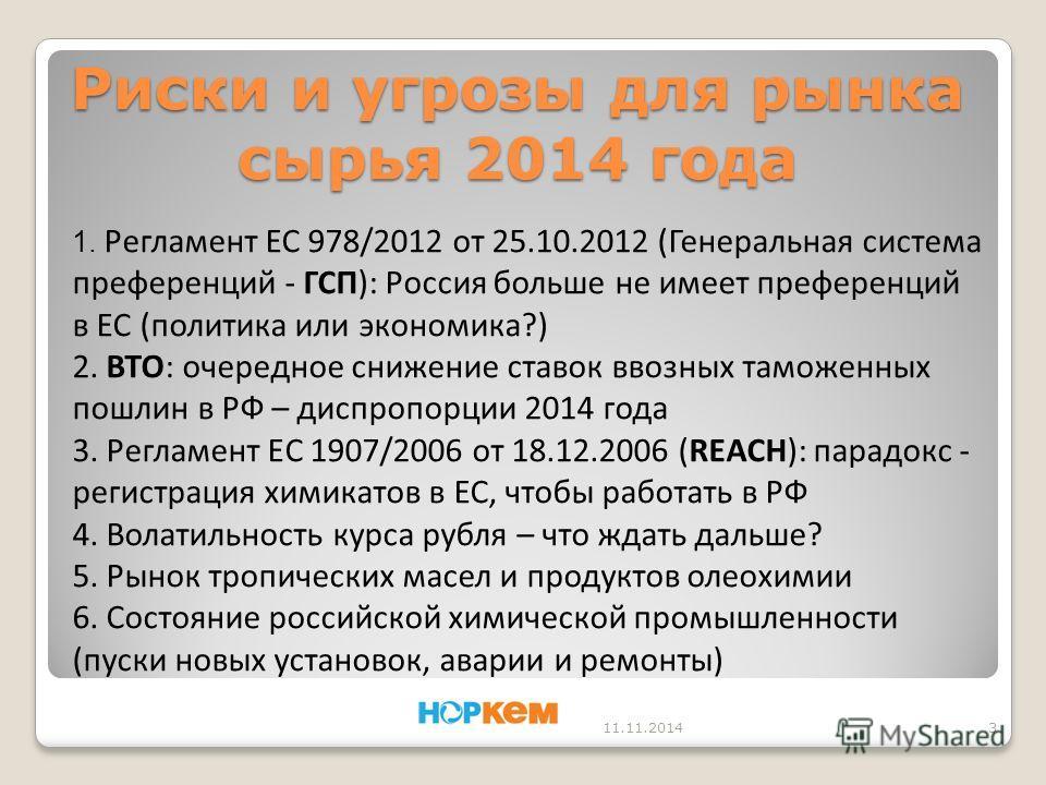 Риски и угрозы для рынка сырья 2014 года 11.11.20143 1. Регламент ЕС 978/2012 от 25.10.2012 (Генеральная система преференций - ГСП): Россия больше не имеет преференций в ЕС (политика или экономика?) 2. ВТО: очередное снижение ставок ввозных таможенны