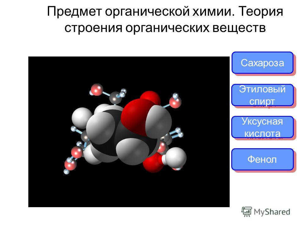 Предмет органической химии. Теория строения органических веществ Сахароза Этиловый спирт Этиловый спирт Уксусная кислота Фенол