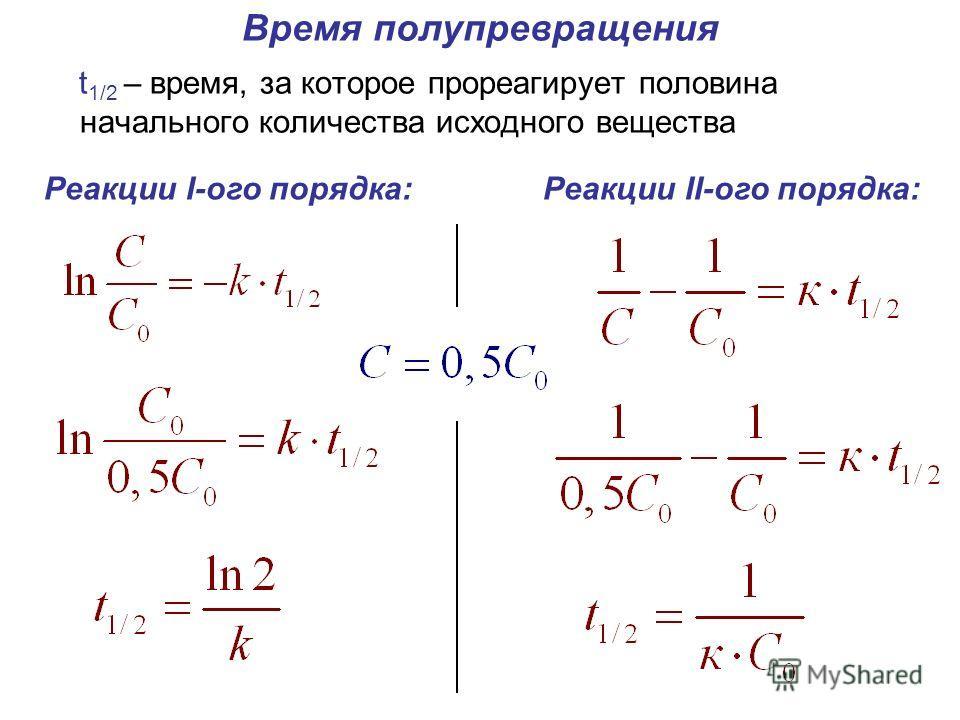 Время полупревращения t 1/2 – время, за которое прореагирует половина начального количества исходного вещества Реакции I-ого порядка:Реакции II-ого порядка: