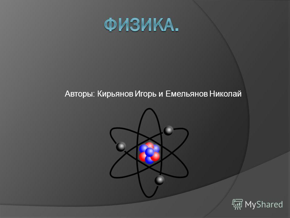 Авторы: Кирьянов Игорь и Емельянов Николай