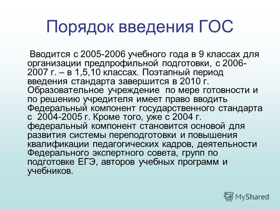Порядок введения ГОС Вводится с 2005-2006 учебного года в 9 классах для организации предпрофильной подготовки, с 2006- 2007 г. – в 1,5,10 классах. Поэтапный период введения стандарта завершится в 2010 г. Образовательное учреждение по мере готовности