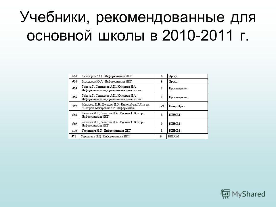 Учебники, рекомендованные для основной школы в 2010-2011 г.