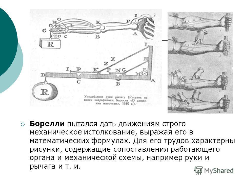 Борелли пытался дать движениям строго механическое истолкование, выражая его в математических формулах. Для его трудов характерны рисунки, содержащие сопоставления работающего органа и механической схемы, например руки и рычага и т. и.