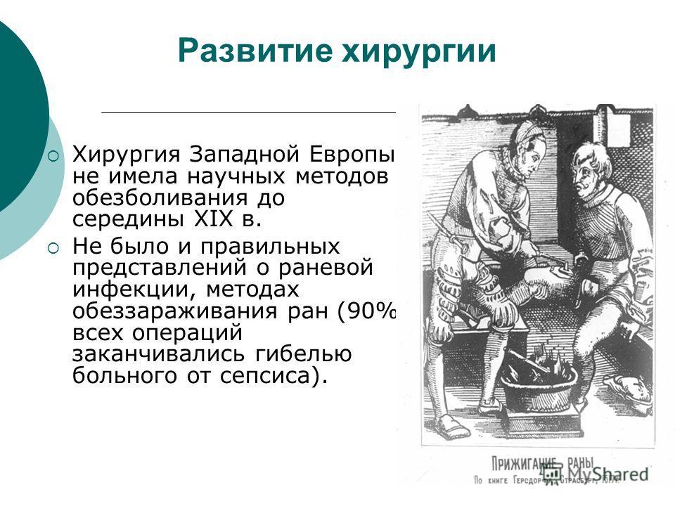 Развитие хирургии Хирургия Западной Европы не имела научных методов обезболивания до середины XIX в. Не было и правильных представлений о раневой инфекции, методах обеззараживания ран (90% всех операций заканчивались гибелью больного от сепсиса).