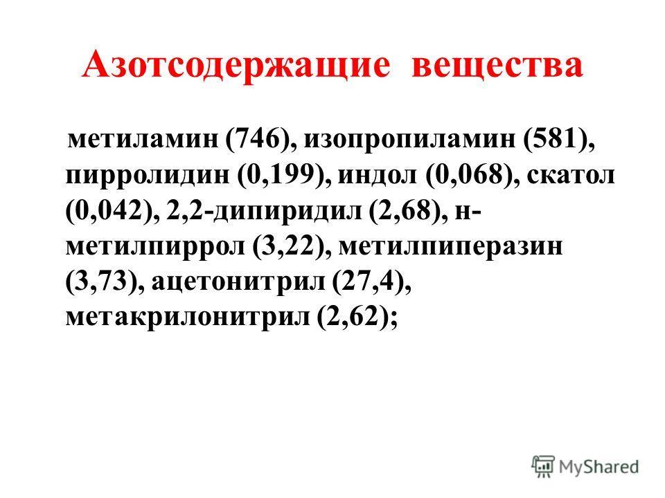 Кислородсодержащие соединения альдегиды - формальдегид (28,3), ацетальдегид (195), 2- метилпропаналь (44,9), 3-метилбутаналь (30,8), пентаналь (27,9), 2,4,-гексадиеналь (24,9), гексаналь (26,1), фурфураль (23,6), гептаналь (24,6), октаналь (25,9), бе