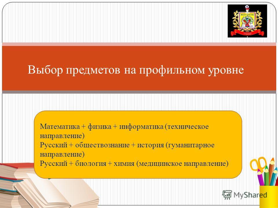 Выбор предметов на профильном уровне Математика + физика + информатика (техническое направление) Русский + обществознание + история (гуманитарное направление) Русский + биология + химия (медицинское направление)