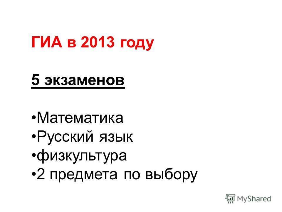 ГИА в 2013 году 5 экзаменов Математика Русский язык физкультура 2 предмета по выбору
