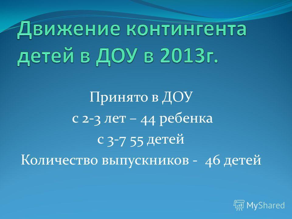 Принято в ДОУ с 2-3 лет – 44 ребенка с 3-7 55 детей Количество выпускников - 46 детей