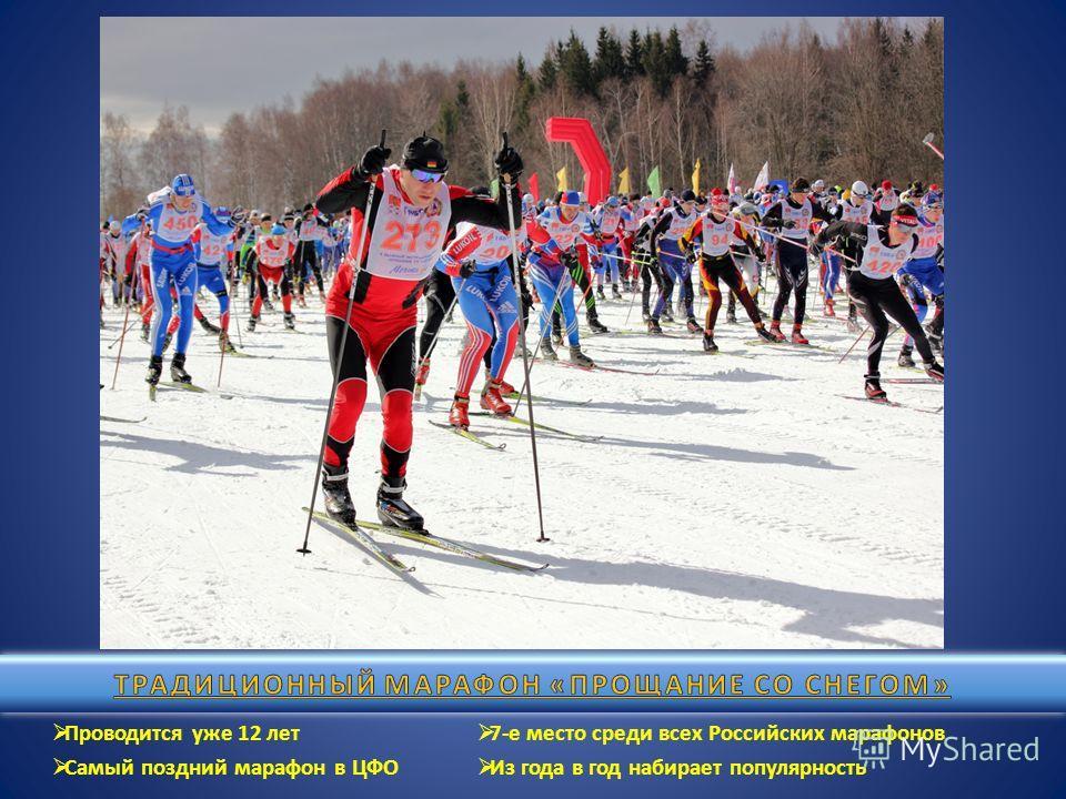 Проводится уже 12 лет Самый поздний марафон в ЦФО 7-е место среди всех Российских марафонов Из года в год набирает популярность